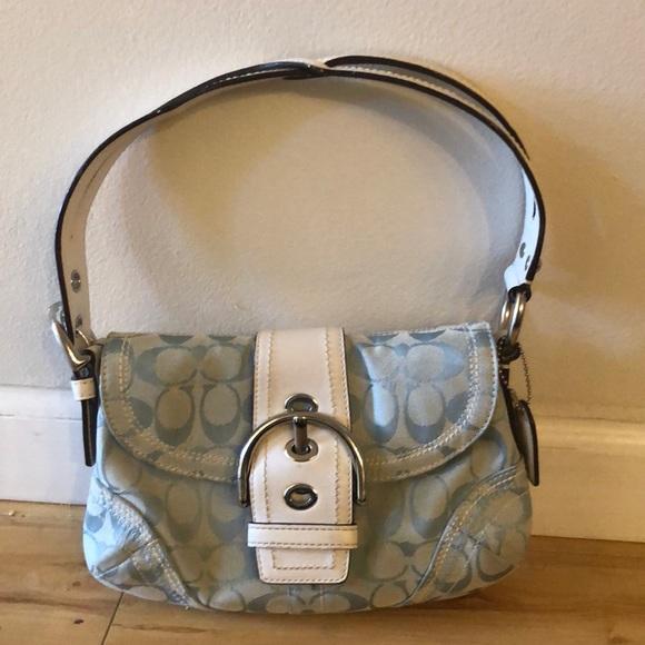 Coach Handbags - Light Blue/White Coach Handbag. Hello Summer!